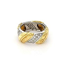 Tiffany & Co. Diamond Platinum 18k Yellow Gold 8.5mm Leaf Band Ring Size 6
