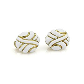 David Webb White Enamel 18k Yellow Gold Fancy Post Clip Earrings