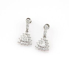 Estate Platinum 3.35ctw Trilion & Round Cut Diamond Drop Earrings