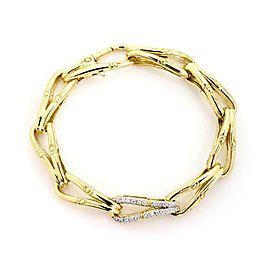 John Hardy Modern Diamond 18k Gold Fish Bone Flex Link Bracelet