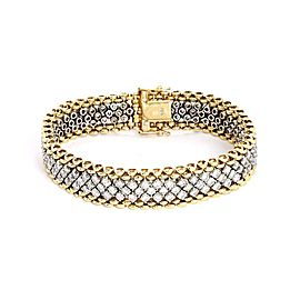 Estate 5.75ct Diamond 14k Gold 12mm Wide Fancy Flex Link Bracelet