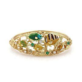 Kabana Diamonds & Emerald Enamel 18k Yellow Gold Sea Life Fancy Bracelet