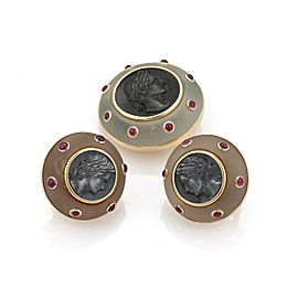 Trianon 1ct Ruby Frosted Crystal Intaglio Steel 14k Gold Earrings Pin Set