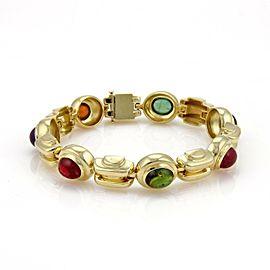 50 Carats Multicolor Gemstones 18k Yellow Gold Fancy Link Bracelet