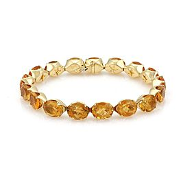 H.Stern 51 Carats Citrine 18k Yellow Gold Oval Link Tennis Bracelet