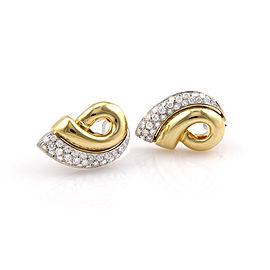 Estate 18K YG 3.70ct Fancy Italian Pave Diamond Clip On Earrings
