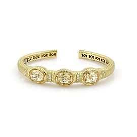Judith Ripka Canary Crystal & Diamond 18k Yellow Gold 3 Stone Cuff Bracelet