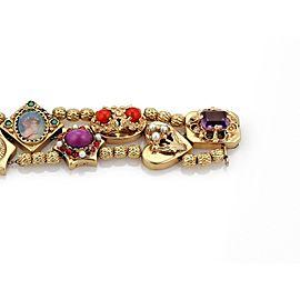 Vintage Multicolor Gems Pearls 14k Yellow Gold 11 Slide Charms Bracelet