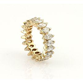 Beautiful 14k Yellow Gold 4ct Marquise Cut Diamond Eternity Band Ring Size 5.5
