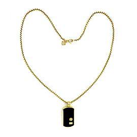 David Yurman Onyx 18k Yellow Gold Dog Tag Pendant & Chain Necklace