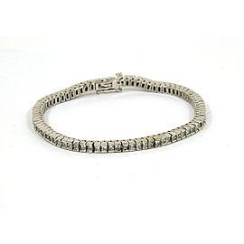 """5.00 Carats Princess Cut Diamond 14k White Gold Tennis Bracelet 7"""" Long"""
