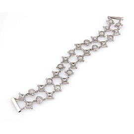 """Estate 14K White Gold 2 Row Diamond Link Fashion Bracelet 7"""""""