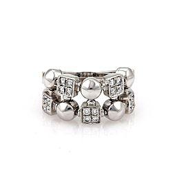 Bulgari Bulgari Lucia Diamond 18k White Gold Geometric Shape Flex Band Ring