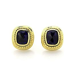 David Yurman Albion Iolite 18k Yellow Gold Oval Cable Post Clip Earrings