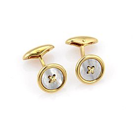 Tiffany & Co. 18K Yellow Gold Button Design Cufflinks with White Mother of Pearl