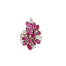 Estate 4.65ct Ruby & Diamond Platinum Cluster Ring Size - 6