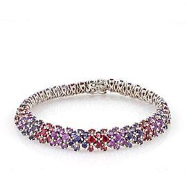 """Estate 18k White Gold 16ctw Multi-Color Gemstone Floral Design Bracelet 7.25"""" L"""