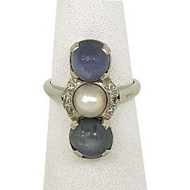 Art Deco 5.12ctw Diamond Star Sapphire & Pearl Platinum Long Ring