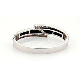 Gorgeous 14k White Gold 1ct Diamonds & Onyx Z Design Fancy Bracelet Bangle