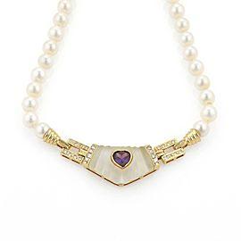 Estate 3.35ct Diamond Amethyst 18k Yellow Gold Pendant Pearl Necklace