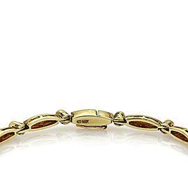 Retro 1.36ct Diamond Enamel Fancy Graduated 14k Yellow Gold Bracelet