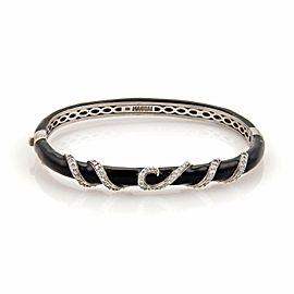 Haggai Black Enamel & Diamonds 14k White Gold Spiral Design Bangle Bracelet
