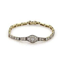 Art Deco 1.00ct Diamond Platinum Milgrain Design Square Link Bracelet