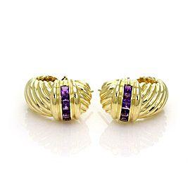 David Yurman 2.50ct Amethyst 18k Yellow Gold Shrimp Oval Hoop Earrings
