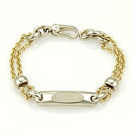 Pomellato 18k Two Tone ID Tag Double Chain Link Bracelet