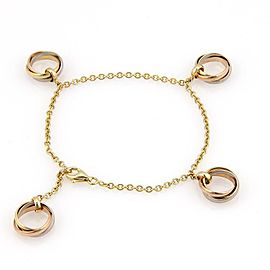 59881 Cartier Trinity 18k Tri-Color Gold 4 Rolling Ring Charm Chain Bracelet