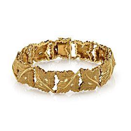 Textured 18k Yellow Gold 12 Maple Leaf Link 16mm Wide Bracelet