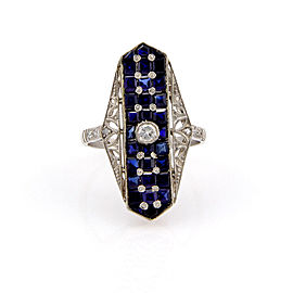 Estate Platinum Art Deco Diamond Sapphire Filigree Ring