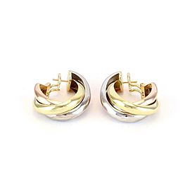 Cartier Trinity 18k Tri-Color Gold Triple Interlaced Oval Hoop Earrings