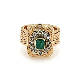 Antique Emerald & Seed Pearls 18k Rose Gold Convertible Ring to Bracelet