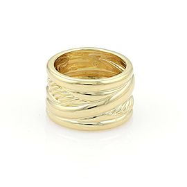 David Yurman 18k Yellow Gold 5 Rows Wide Fancy Band Ring Size - 6