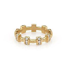 Chanel Diamond 18k Yellow Gold Fancy Cross Bar Band Ring Size 5.25