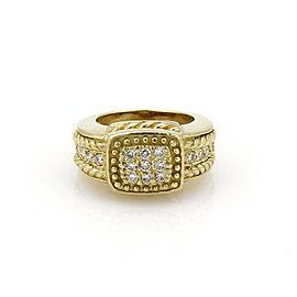 Judith Ripka Diamond 18k Yellow Gold Fancy Bead Design Ring Size 5.5