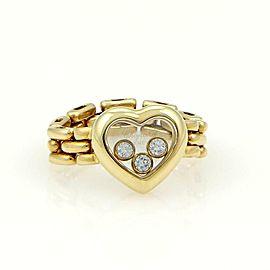Chopard 18K YGold Happy Diamonds 3 Diamond Heart Flex Chain Band Ring Size 5