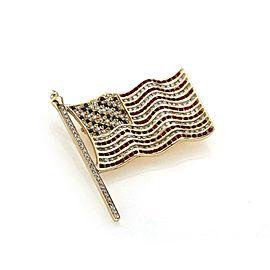 Estate 2.60ct Diamond Sapphire & Ruby 14k Yellow Gold USA Flag Brooch