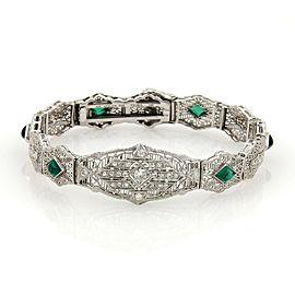Art Deco Diamond & Gems 14 White Gold Filigree Bracelet