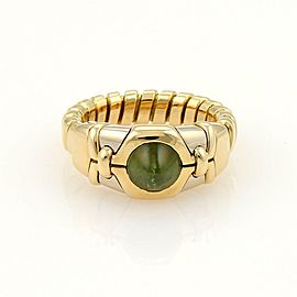 Bulgari Bulgari Tubogas Green Tourmaline 18k Gold Adjustable Gold Ring Size 5