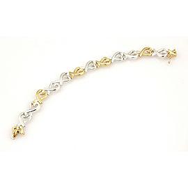 Tiffany & Co. Paloma Picasso Sterling & 18K YG Loving Heart Link Bracelet
