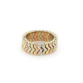 Bulgari Bulgari 18k Tricolor Gold Spiga 7.5mm Cuff Band Ring Size - 7.5