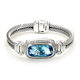 David Yurman Nobelesse Blue Topaz & Diamond Sterling Cable Bracelet