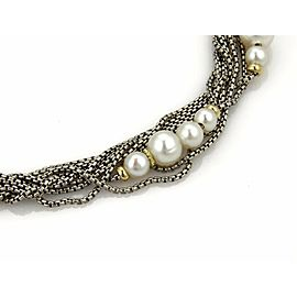 David Yurman Pearls 18k YGold & Silver Multi-Strand Box Link Chain Necklace