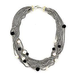 David Yurman Onyx Pearls 925 Silver 18k Gold 8 Strand Box Chain Necklace