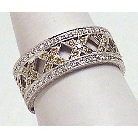 Estate Platinum .85ct Fancy Yellow & White Diamond X Design Band/Ring