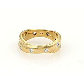 Tiffany & Co. Etoile Diamond 18k Gold Platinum Interlaced Band Ring Size 5