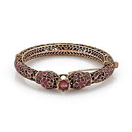 Vintage 6 Carats Ruby 9k Rose Gold Filigree Double Head Snake Bangle