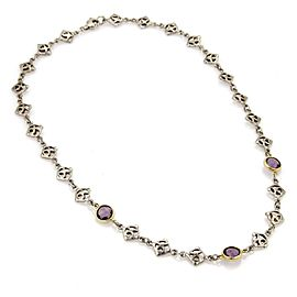 David Yurman Amethyst 925 Silver 18k Yellow Gold Logo Chain Link Necklace